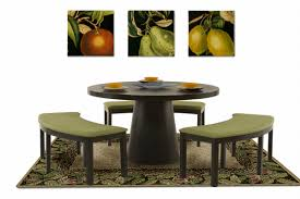 Bench Dining Table 53 Inch Round Dining Table With Three Curved Benches Zara