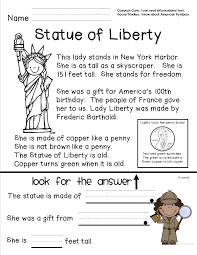 reading comprehension sheet about the statue of liberty for