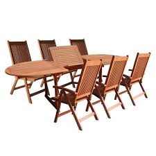 7 Piece Outdoor Patio Dining Set - amazon com vifah v144set1 outdoor wood 7 piece dining set with