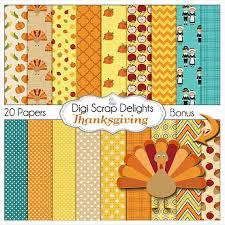 thanksgiving digital papers w turkey pilgrim pumpkin for