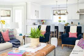 modern kitchen family room ideas dina holland interiors navy pink family room open concept