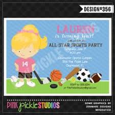 girls printable sports birthday invitation all star sports