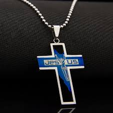 mens christian jewelry silver jesus cross necklace pendant men 316l stainless steel blue