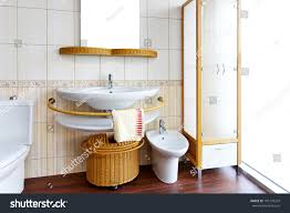 bright bathroom interior with clean bright clean bathroom interior rattan fixtures stock photo