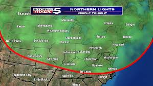 northern lights location map northern lights viewing possible in wcyb