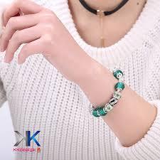 murano glass beads bracelet images Crystal green murano glass beads charm bracelets for women kk jpg