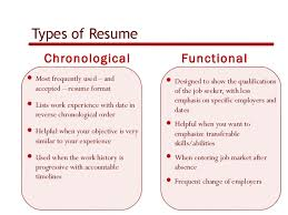 How to create an effective resume          Types of Resume Chronological