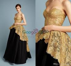 Black And Gold Lace Prom Dress Reem Acra 2017 Spring Modest Ball Gowns Prom Dresses Gold Sparkly