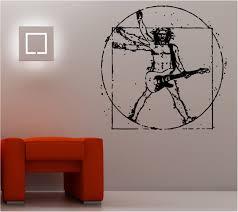 Bedroom Wall Graffiti Stickers Da Vinci Vitruvian Guitarist Wall Art Sticker Music Guitar Bedroom