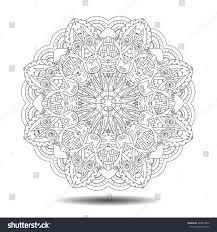 doodle presentations mandala element symmetric zentangle vector illustration stock
