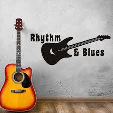 musical home decor removable wall stickers rhythm blues guitar music home decor