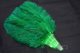 burlesque feather fans green glittery led shine bushy ostrich feather fans