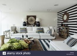 Black And White Chevron Rug Black And White Striped Wall In Sitting Room With Chevron