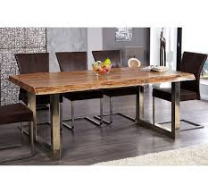 table cuisine en bois table a manger en bois massif et metal chrome tree pad 200 cm
