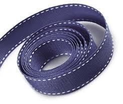 navy blue ribbon navy blue grosgrain ribbon with white stitching 3m x 9mm
