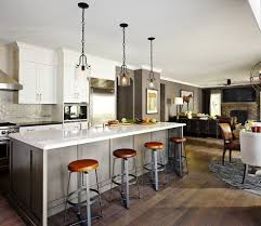 island style kitchen transitional with metal bar stools