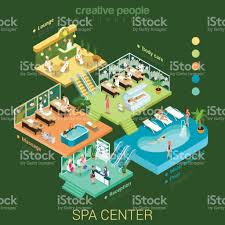 flat 3d isometric abstract spa salon center floor interior