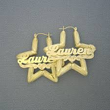 Gold Name Earrings 10k Yellow Gold Star Bamboo Personalized Name Earrings 1 3 4 Inch