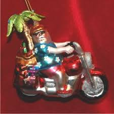 buy personalized bound tropical santa on a motorcycle with
