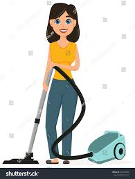 housewife vacuuming home vacuum cleaner pretty stock vector
