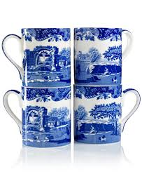 spode blue italian mugs set of 4 dinnerware dining