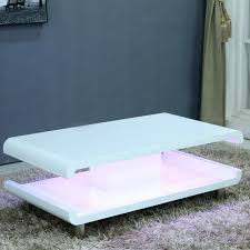 tiffany white high gloss coffee table with led lighting furniture123
