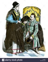 polish lady and noble man in national dress from the 16th century