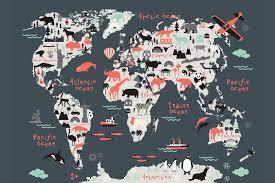 World Map Mural Landmark Kids Map Mural Muralswallpaper Co Uk