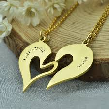 Gold Personalized Name Necklace Engraved Name Heart Necklace Set Gold Color Couples Name Necklace