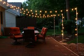 Diy Patio Lights Support Poles For Patio Lights Made From Rebar And Electrical