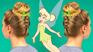 tinkerbell hairstyle tinker bell braided bun hair tutorial by disney style youtube