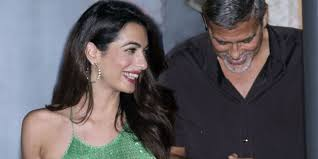 is amal clooney hair one length amal clooney green sequined dress amal and george clooney dinner