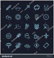 new year traditional decorations thin line icons set new stock vector 540964948