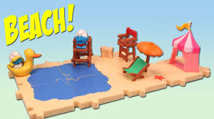 smurfs micro village summer season beach set review youtube