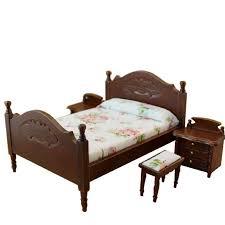 selling dollhouse miniature bedroom furniture bed u0026 2 bedside