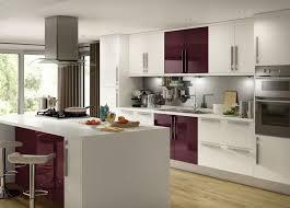 high gloss white u0026 aubergine kitchen design pinterest