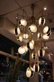 Modern Mid Century Italian Modern Mid Century Brass And Glass Chandelier For Sale At