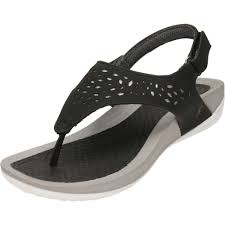 dunlop black wedge slingback toe post cushioned sandals new with
