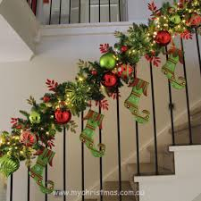 staircase garland design love it christmas pinterest