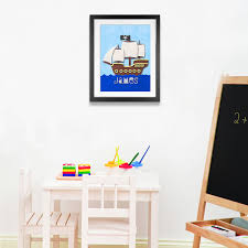 fuzzy felt kids name pirate ship personalised wall art canvas fuzzy felt kids name pirate ship personalised wall art