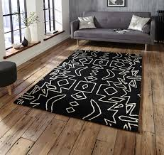 Black White Rugs Modern Black White Modern Tribal Rug 100 Wool Monochrome Tufted