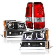 2004 silverado tail lights chevy silverado 2500 2003 2004 black led drl headlights set led tail