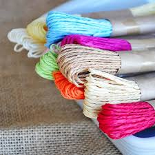 colored raffia 2018 30m pc colored raffia paper rope split string packaging
