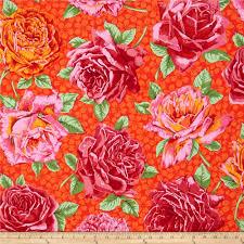 kaffe fassett home decor fabric kaffe fassett rose bloom red from fabricdotcom designed by philip
