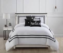 White Comforter Sets Queen 7 Piece Catherine Malandrino Sterling Black White Comforter Set