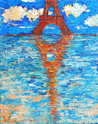 eiffel tower abstract impression painting by ana maria edulescu