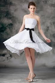 Short Wedding Dresses Allens Bridal Chiffon Strapless Neckline Knee Length Column Sash