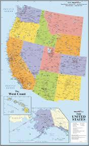 map of usa west coast west coast wall map maps