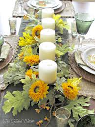 Sunflower Centerpiece Sunflowers And Candles An Early Autumn Table The Gilded Bloom