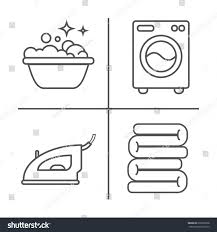 washing ironing clean laundry line icons stock vector 679666558